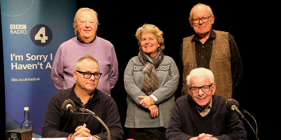 I'm Sorry I Haven't A Clue. Image shows from L to R: Tim Brooke-Taylor, Jack Dee, Sandi Toksvig, Graeme Garden, Barry Cryer. Copyright: BBC.