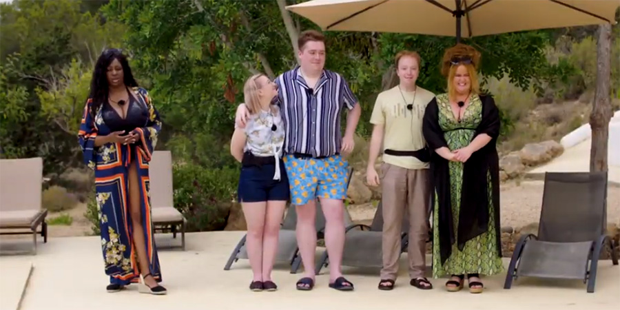 Infatuation - Island Of Love. Image shows from L to R: Jaade (Verona Rose), Wendy (Beth Lewis), Bryan (Liam Bannigan), Nigel (Ben Mansbridge), Abby-Gal (Donna Preston).