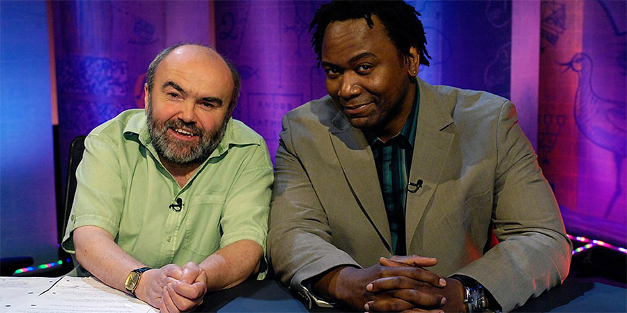 It's Only A Theory. Image shows from L to R: Andy Hamilton, Reginald D Hunter. Copyright: Hat Trick Productions.