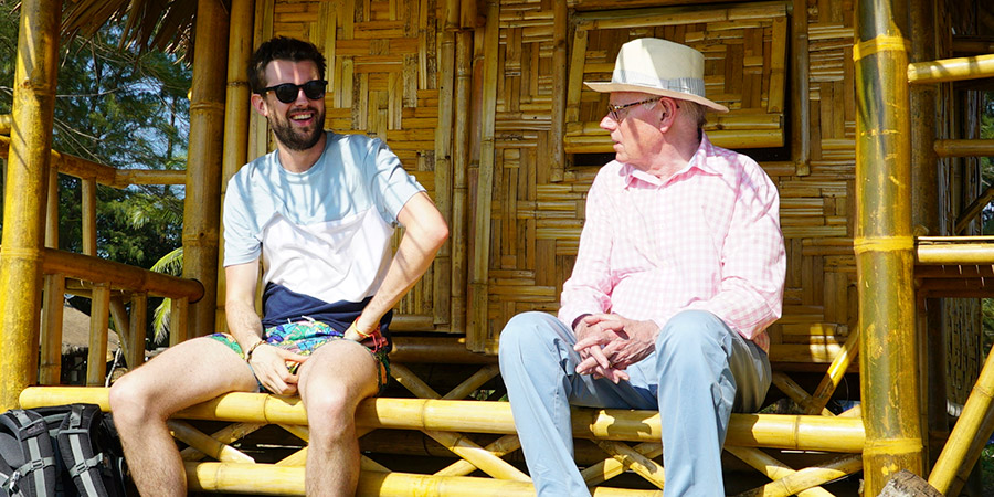 Jack Whitehall: Travels With My Father. Image shows from L to R: Jack Whitehall, Michael Whitehall. Copyright: Netflix.