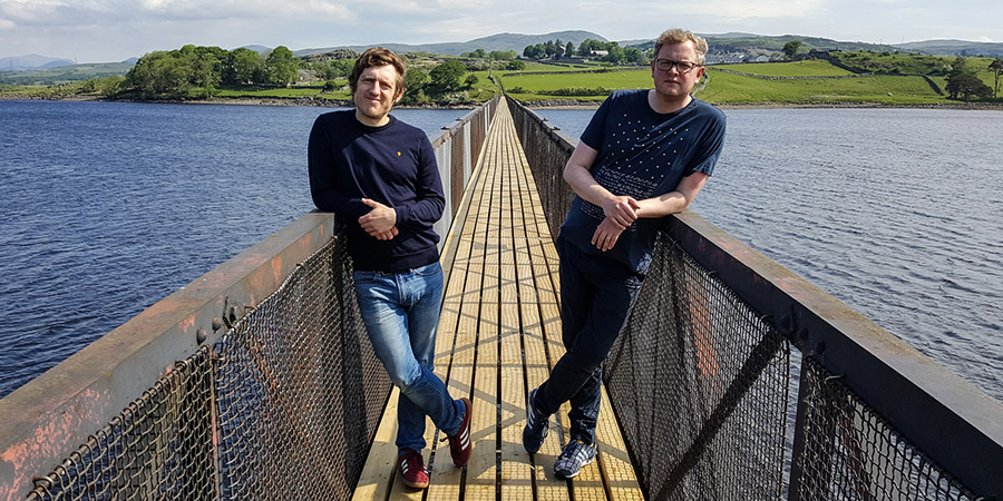 James And Jupp. Image shows from L to R: Elis James, Miles Jupp. Copyright: Small and Clever.