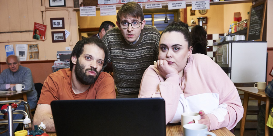Jerk. Image shows from L to R: Tim (Tim Renkow), Idris (Rob Madin), Ruth (Sharon Rooney).