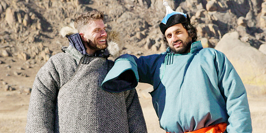 Joel & Nish Vs The World. Image shows from L to R: Joel Dommett, Nish Kumar. Copyright: Rumpus Media.