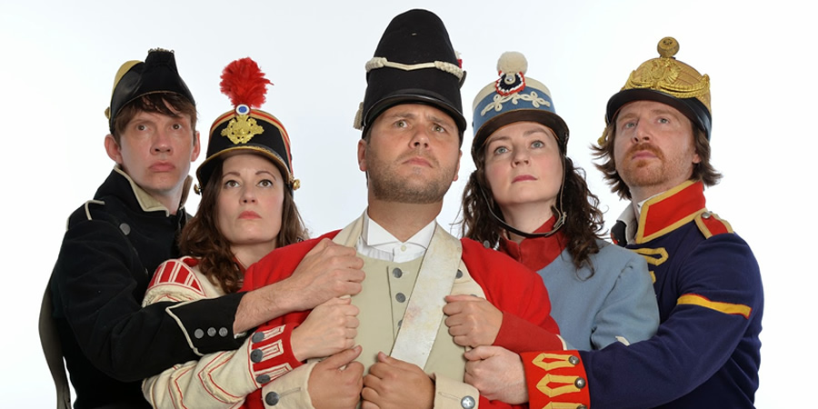 John Finnemore's Souvenir Programme. Image shows from L to R: Lawry Lewin, Margaret Cabourn-Smith, John Finnemore, Carrie Quinlan, Simon Kane. Copyright: BBC.