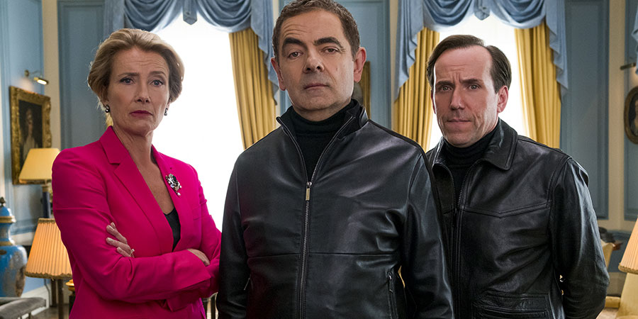 Johnny English Strikes Again. Image shows from L to R: Prime Minister (Emma Thompson), Johnny English (Rowan Atkinson), Bough (Ben Miller). Copyright: Working Title Films.