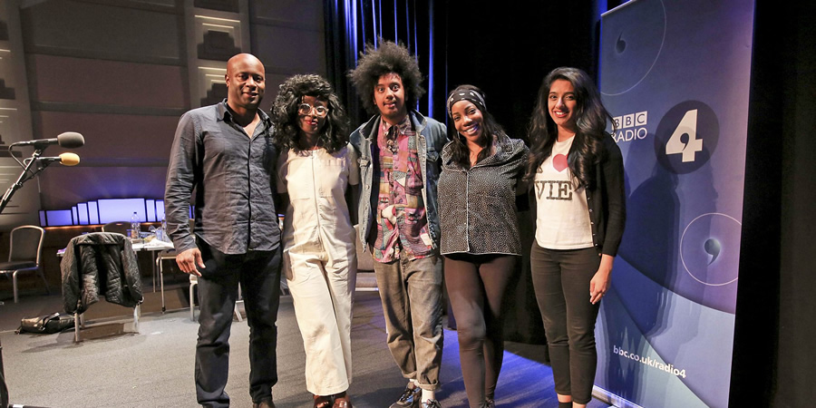 Joy. Image shows from L to R: Nicholas Bailey, Vivienne Acheampong, Nathan Bryon, Joy (Jocelyn Jee Esien), Nimisha Odedra. Copyright: BBC.