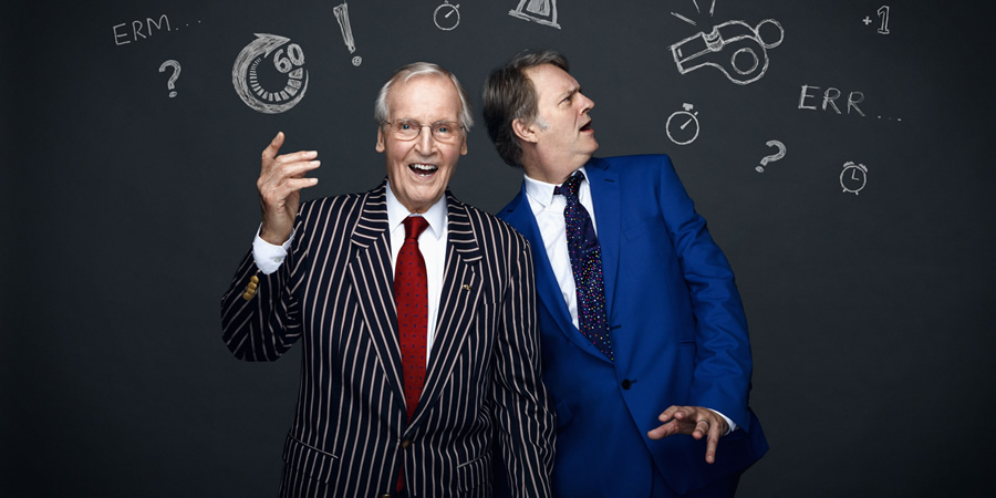 50 Years Of Just A Minute: An Audience With Nicholas Parsons. Image shows from L to R: Nicholas Parsons, Paul Merton. Copyright: BBC.