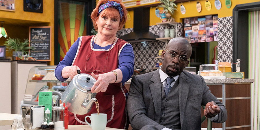 Kate & Koji. Image shows from L to R: Kate (Brenda Blethyn), Koji (Jimmy Akingbola). Copyright: Hat Trick Productions.