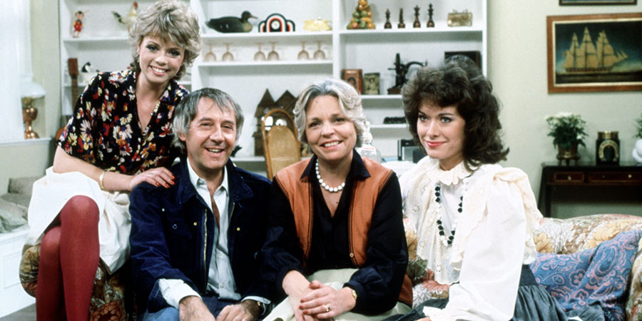 Keep It In The Family. Image shows from L to R: Susan Rush (Stacy Dorning), Dudley Rush (Robert Gillespie), Muriel Rush (Pauline Yates), Jacqui Rush (Sabina Franklyn). Copyright: Thames Television.