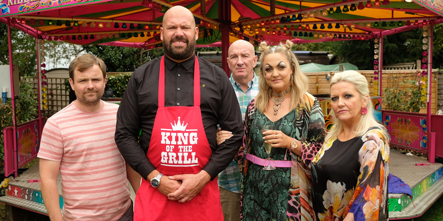 'King Gary. Image shows from L to R: Winkle (Neil Maskell), Gary King (Tom Davis), Big Gary King (Simon Day), Terri King (Laura Checkley), Denise King (Camille Coduri).