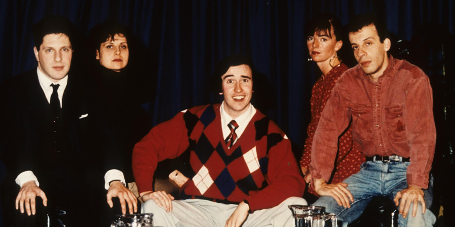 Knowing Me, Knowing You... With Alan Partridge. Image shows from L to R: Patrick Marber, Rebecca Front, Alan Partridge (Steve Coogan), Doon Mackichan, David Schneider. Copyright: BBC.