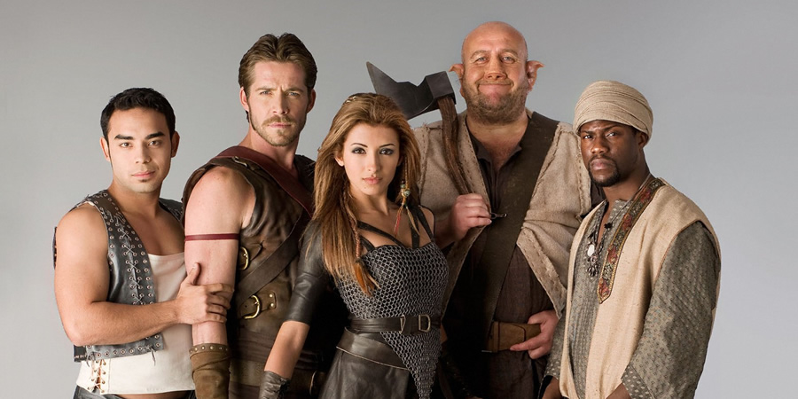 Kröd Mändoon And The Flaming Sword Of Fire. Image shows from L to R: Bruce (Marques Ray), Krod Mandoon (Sean Maguire), Aneka (India de Beaufort), Loquasto (Steve Speirs), Zezelryck (Kevin Hart).