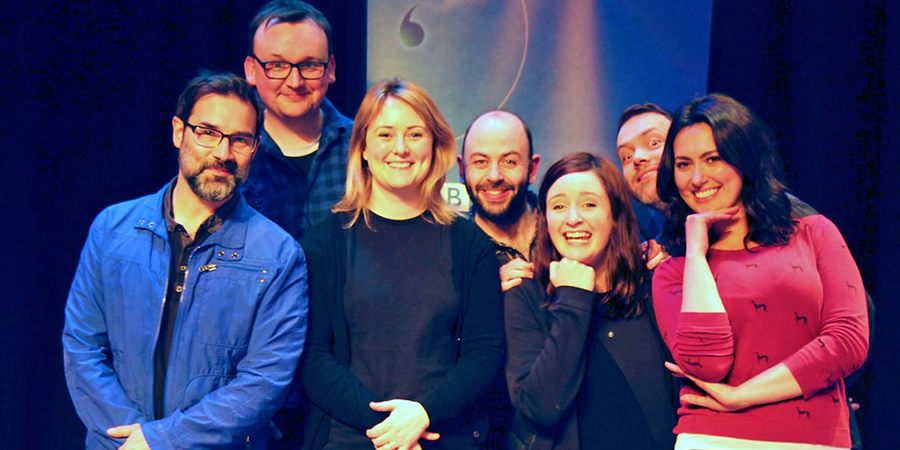 Kült. Image shows from L to R: Petr (Adam Buxton), Julian (Shane Langan), Anne (Philippa Dunne), Johnny (Niall Gaffney), Grace (Amy Stephenson), Karl (Rory Connolly), Siobhan (Yasmine Akram). Copyright: BBC.