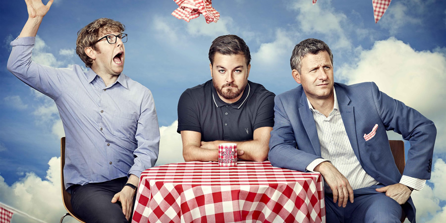 The Last Leg. Image shows from L to R: Josh Widdicombe, Alex Brooker, Adam Hills. Copyright: Open Mike Productions.