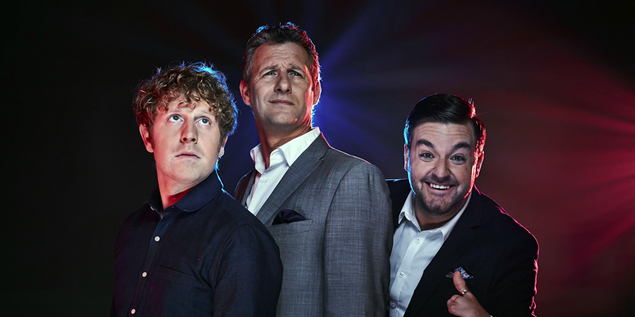 The Last Leg. Image shows from L to R: Josh Widdicombe, Adam Hills, Alex Brooker.