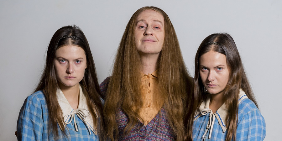 The League Of Gentlemen. Image shows from L to R: Chloe Denton (Francesca Knight), Auntie Val (Mark Gatiss), Radclyffe Denton (Lily Knight). Copyright: BBC.
