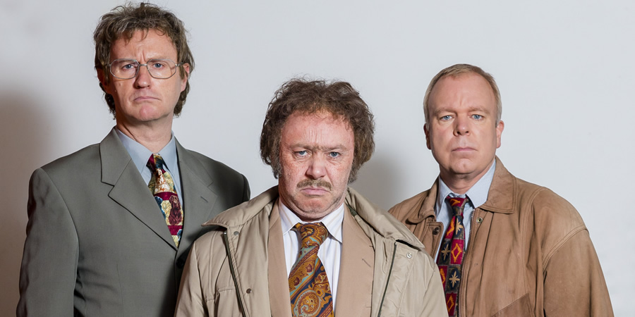 The League Of Gentlemen. Image shows from L to R: Brian (Mark Gatiss), Geoff (Reece Shearsmith), Mike (Steve Pemberton). Copyright: BBC.
