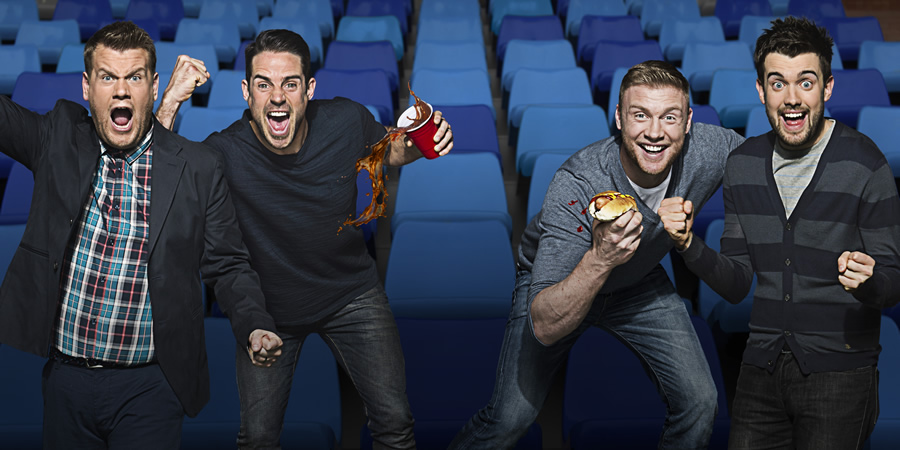 A League Of Their Own. Image shows from L to R: James Corden, Jamie Redknapp, Andrew Flintoff, Jack Whitehall. Copyright: CPL Productions.