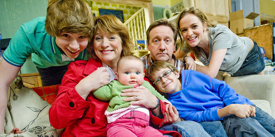 Life Of Riley. Image shows from L to R: Danny Riley (Taylor Fawcett), Maddy Riley (Caroline Quentin), Ted Jackson (Patrick Nolan), Jim Riley (Neil Dudgeon), Katy Riley (Lucinda Dryzek). Copyright: Catherine Bailey Productions Limited.