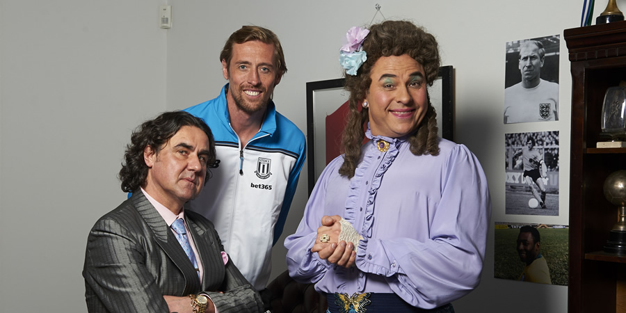 Little Britain. Image shows from L to R: Micky Pern (Micky Flanagan), Peter Crouch, David Walliams. Copyright: BBC / Little Britain Productions.