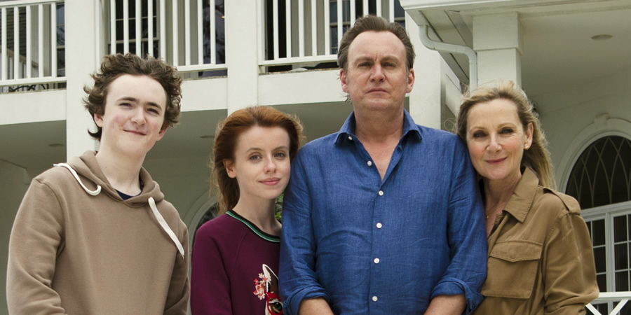 Living The Dream. Image shows from L to R: Freddie Pemberton (Brenock O'Connor), Tina Pemberton (Rosie Day), Mal Pemberton (Philip Glenister), Jen Pemberton (Lesley Sharp). Copyright: Big Talk Productions.
