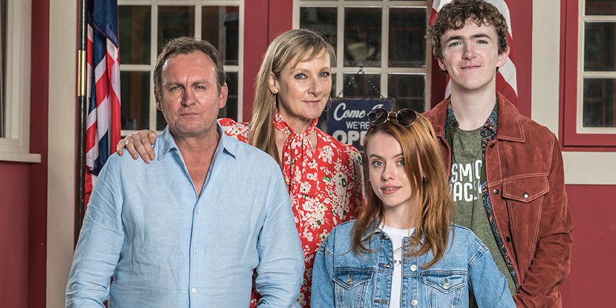 Living The Dream. Image shows from L to R: Mal Pemberton (Philip Glenister), Jen Pemberton (Lesley Sharp), Tina Pemberton (Rosie Day), Freddie Pemberton (Brenock O'Connor). Copyright: Big Talk Productions.