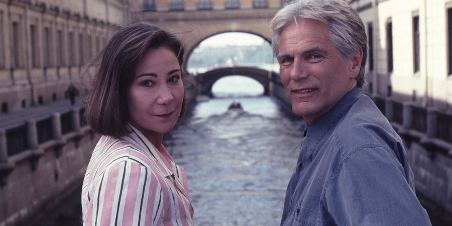 Love Hurts. Image shows from L to R: Tessa Piggott (Zoë Wanamaker), Frank Carver (Adam Faith).