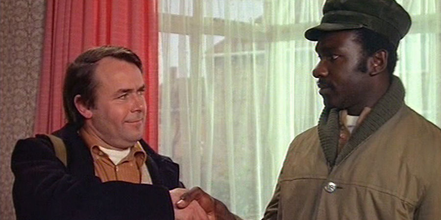 Love Thy Neighbour. Image shows from L to R: Eddie Booth (Jack Smethurst), Bill Reynolds (Rudolph Walker). Copyright: Hammer Film Productions.