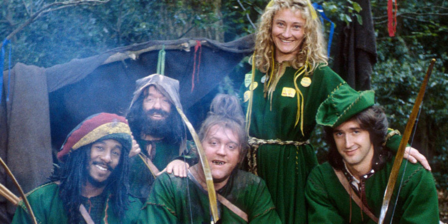 Maid Marian And Her Merry Men. Image shows from L to R: Barrington (Danny John-Jules), Little Ron (Mike Edmonds), Rabies (Howard Lew Lewis), Maid Marian (Kate Lonergan), Robin (Adam Morris). Copyright: BBC.