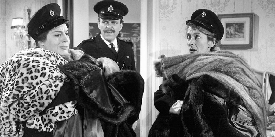 Make Mine Mink. Image shows from L to R: Nanette Parry (Hattie Jacques), Major Rayne (Terry-Thomas), Elizabeth 'Pinkie' Pinkerton (Elspeth Duxbury).