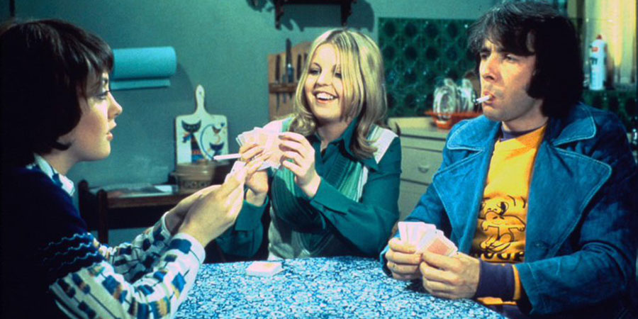 Man About The House. Image shows from L to R: Chrissy Plummer (Paula Wilcox), Jo (Sally Thomsett), Robin Tripp (Richard O'Sullivan). Copyright: Hammer Film Productions.