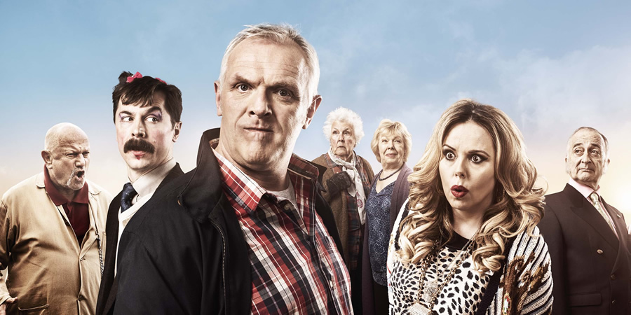 Man Down. Image shows from L to R: Mr Klackov (Steven Berkoff), Brian (Mike Wozniak), Dan (Greg Davies), Nesta (Stephanie Cole), Mum (Gwyneth Powell), Jo (Roisin Conaty), Deadalus (Tony Robinson). Copyright: Avalon Television.
