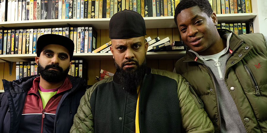 Man Like Mobeen. Image shows from L to R: Eight (Tez Ilyas), Mobeen (Guz Khan), Nate (Tolulope Ogunmefun). Copyright: Tiger Aspect Productions.