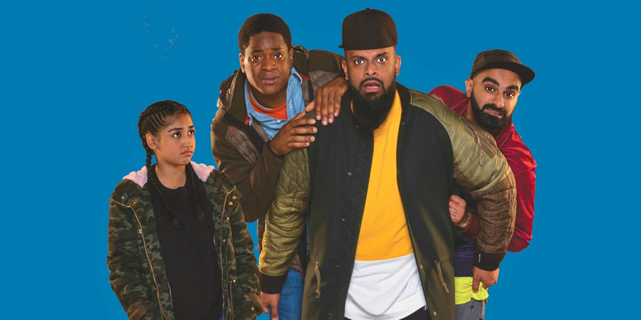 Man Like Mobeen. Image shows from L to R: Aks (Duaa Karim), Nate (Tolulope Ogunmefun), Mobeen (Guz Khan), Eight (Tez Ilyas). Copyright: Cave Bear Productions.