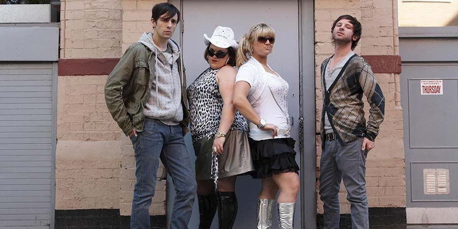Massive. Image shows from L to R: Danny (Ralf Little), Tina Simpson (Beverly Rudd), Marie Simpson (Faye McKeever), Shay (Carl Rice). Copyright: BBC.