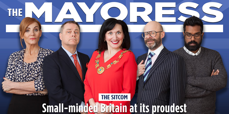 The Mayoress. Image shows from L to R: Denise (Michelle Collins), Tim (Jack Dee), Susan (Brenda Gilhooly), Roger (Harry Hill), Ravi (Romesh Ranganathan).