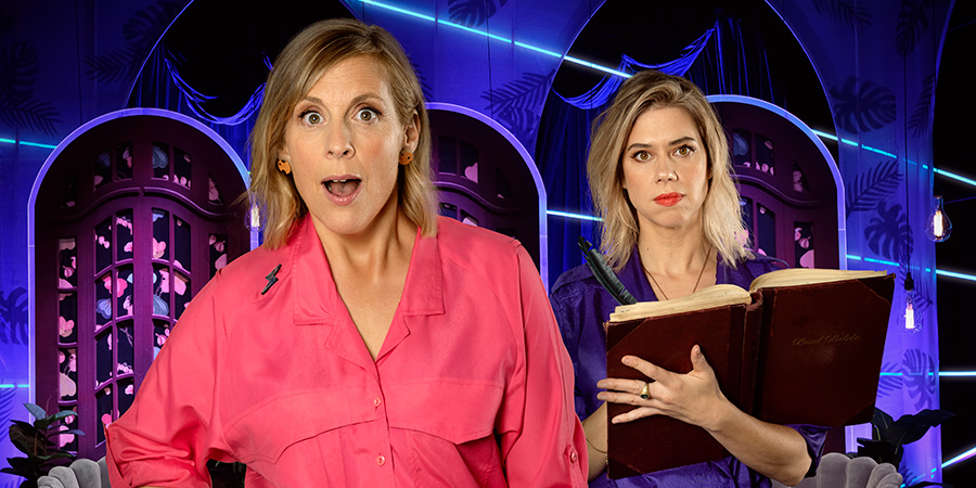 Mel Giedroyc: Unforgivable. Image shows from L to R: Mel Giedroyc, Lou Sanders.