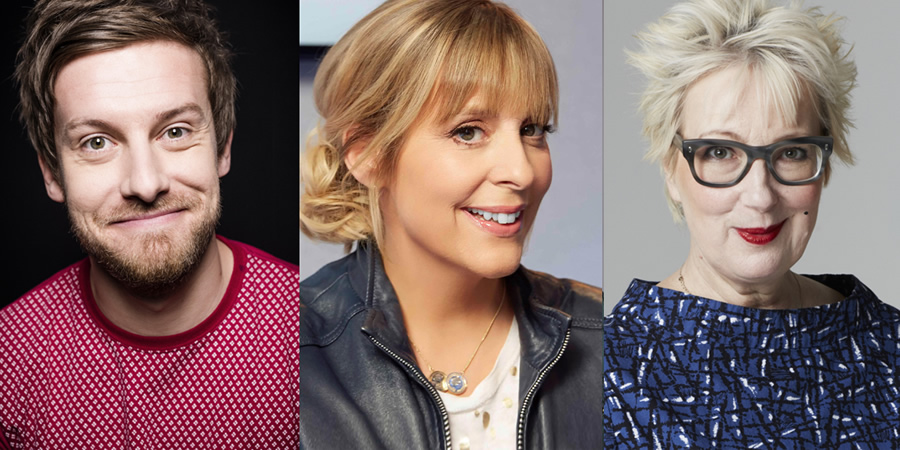 Mind The Gap. Image shows from L to R: Chris Ramsey, Mel Giedroyc, Jenny Eclair.