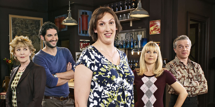 Miranda. Image shows from L to R: Penny (Patricia Hodge), Gary (Tom Ellis), Miranda (Miranda Hart), Stevie (Sarah Hadland), Clive (James Holmes). Copyright: BBC.