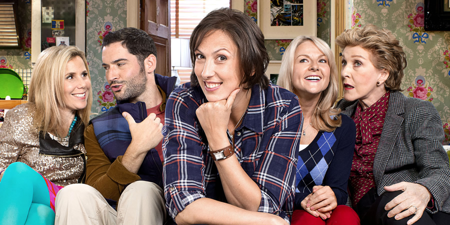 Miranda. Image shows from L to R: Tilly (Sally Phillips), Gary (Tom Ellis), Miranda (Miranda Hart), Stevie (Sarah Hadland), Penny (Patricia Hodge). Copyright: BBC.