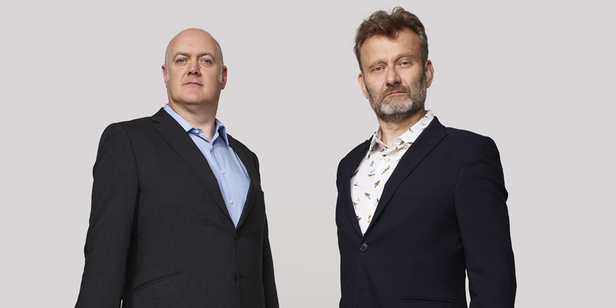 Mock The Week. Image shows from L to R: Dara O Briain, Hugh Dennis. Copyright: Angst Productions.