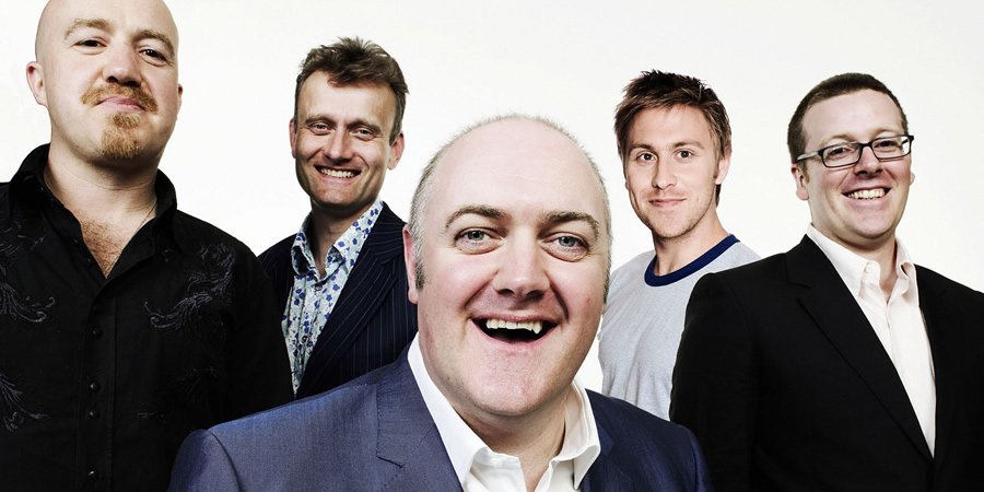 Mock The Week. Image shows from L to R: Andy Parsons, Hugh Dennis, Dara O Briain, Russell Howard, Frankie Boyle. Copyright: Angst Productions.