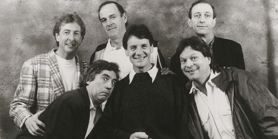 Image shows from L to R: Eric Idle, Terry Jones, John Cleese, Michael Palin, Terry Gilliam, Graham Chapman.
