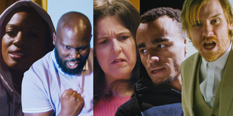 Mother F**king Pep Talk. Image shows from L to R: Thanyia Moore, Kevin Garry, Rosie Jones, Munya Chawawa, Bobby Mair. Copyright: Comedy Central.