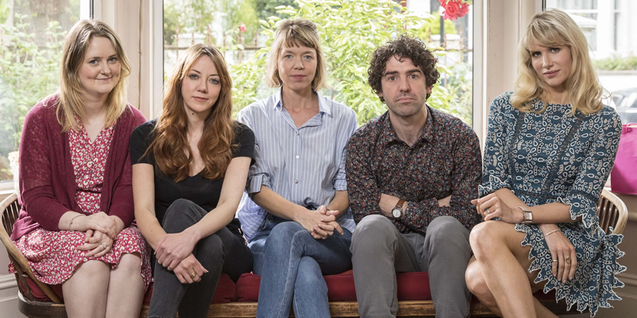 Motherland. Image shows from L to R: Anne (Philippa Dunne), Liz (Diane Morgan), Julia (Anna Maxwell Martin), Kevin (Paul Ready), Amanda (Lucy Punch).