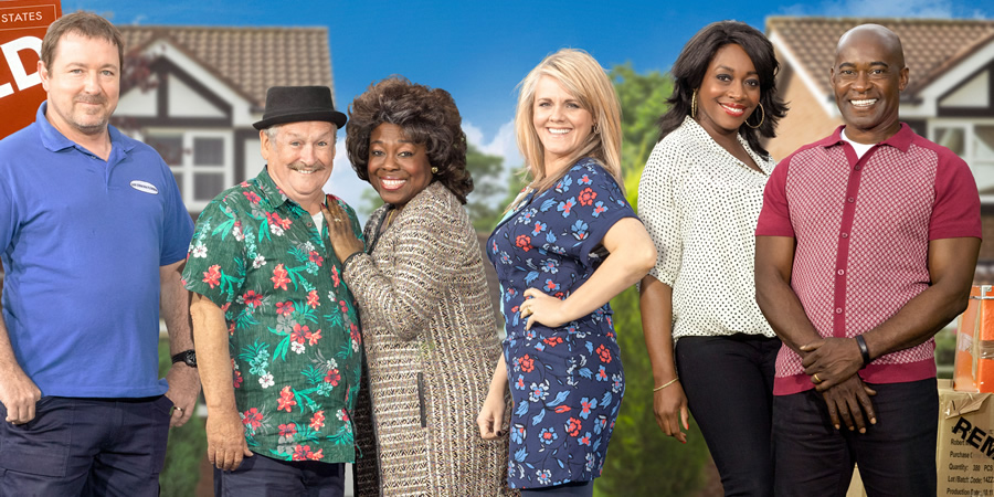 Mount Pleasant. Image shows from L to R: Dan Johnson (Daniel Ryan), Barry Harris (Bobby Ball), Nana (Ellen Thomas), Lisa Johnson (Sally Lindsay), Jenna (Nicola Hughes), Cameron (Patrick Robinson). Copyright: Tiger Aspect Productions.