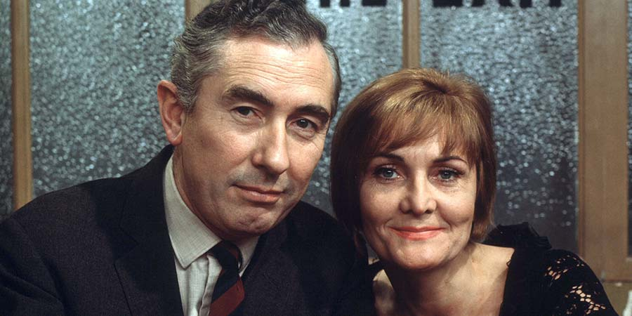 Mr Digby, Darling. Image shows from L to R: Roland Digby (Peter Jones), Thelma Teesdale (Sheila Hancock), Roland Digby (Peter Jones), Thelma Teesdale (Sheila Hancock). Copyright: Yorkshire Television.
