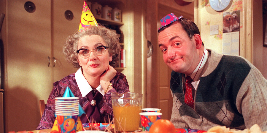 Mrs Merton & Malcolm. Image shows from L to R: Mrs Merton (Caroline Aherne), Malcolm (Craig Cash). Copyright: Granada Television.