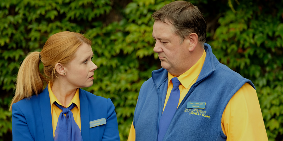 Murder On The Blackpool Express. Image shows from L to R: Gemma (Sian Gibson), Terry (Johnny Vegas).