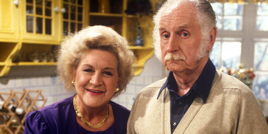 My Husband And I. Image shows from L to R: Nora Powers (Mollie Sugden), George Powers (William Moore). Copyright: Yorkshire Television.